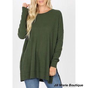 Long sleeve waffle knit tunic top army green NWT